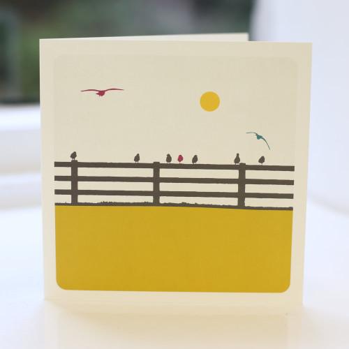 Jacky Al-Samarraie Birds on a Fence Greeting Card