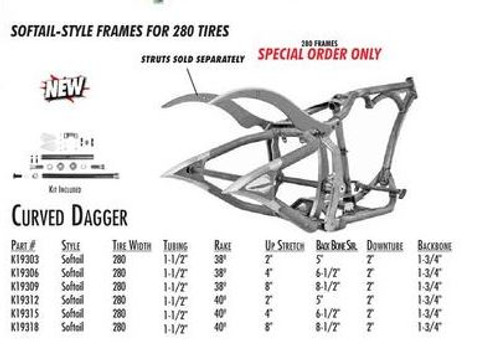 """Curved Dagger / Softail Style 280 SDT / 1-1/2"""" 40 Rake 2"""" Stretch 5"""" BBS (Special Order)"""