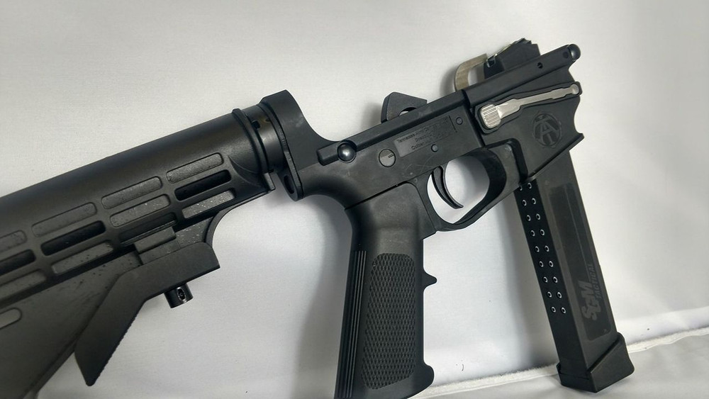 Complete Receiver showing installed magazine release. Production Mag release will be in Black