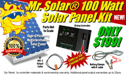 Mr. Solar® 100 Watt Solar Panel Kit with USB Power & Charging Port