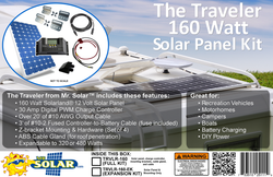 The Traveler 160 Watt Solar Panel Expansion Kit from Mr. Solar™ features a 160W Solarland 12V Solar Panel, Z-bracket mounting and hardware (set of 4), a 30A Digital PWM charge controller, an ABS Cable Gland and over 20' of #10 AWG output cable. The kit is easily expanded to 320/480W by purchasing our 160W expansion kit(s).