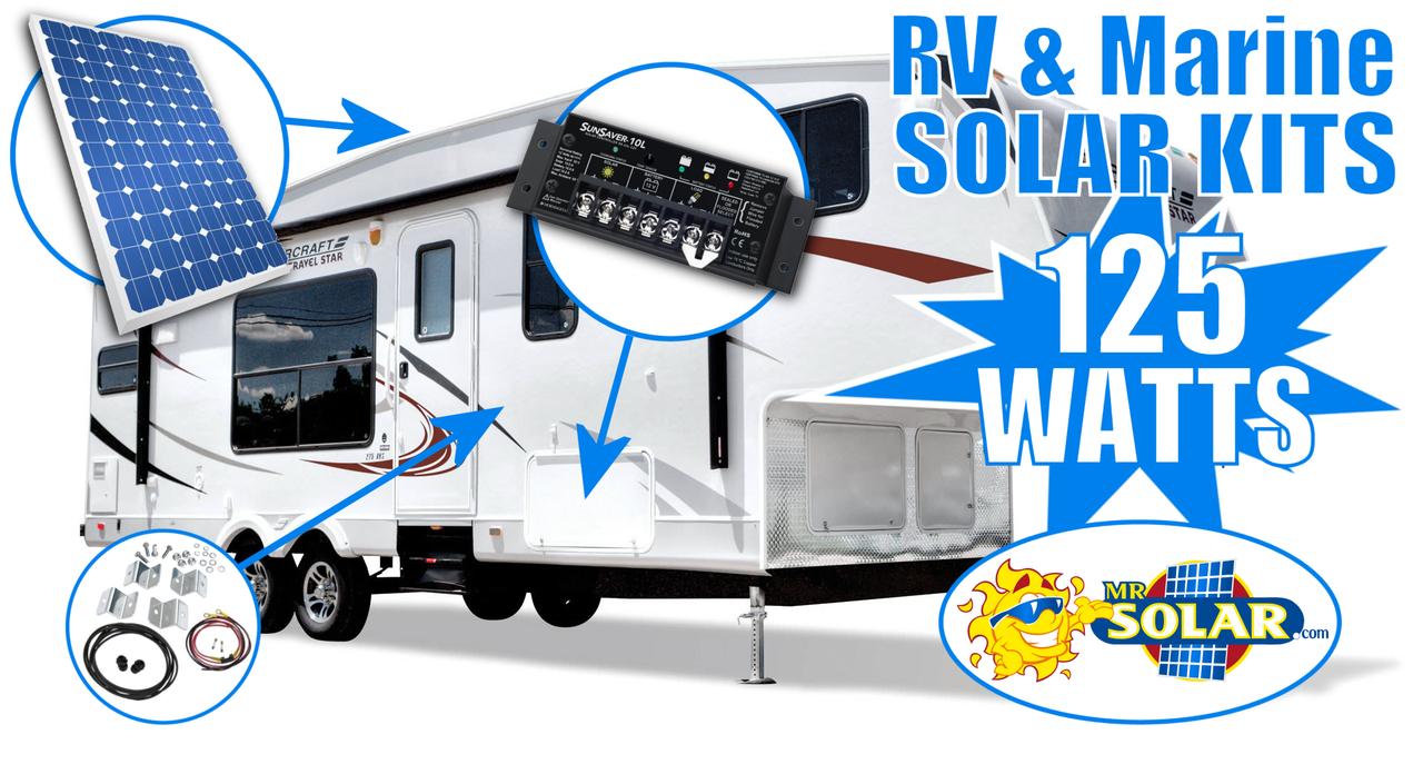 Mr. Solar® 125 Watt RV & Marine Solar Power System Kit