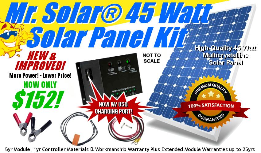 Mr. Solar 45 Watt Solar Panel Kit w/ USB Power/Charging Port