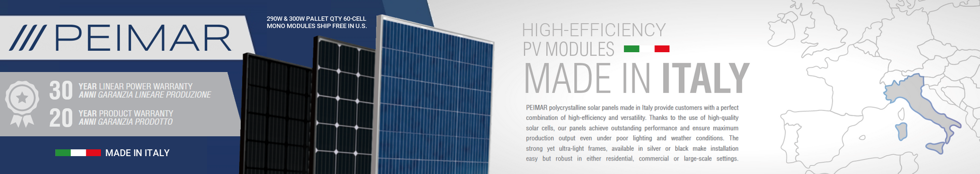 Peimar solar modules, tarrif-free and made in Italy, provide exceptional efficiency and rugged construction for your photovoltaic needs.