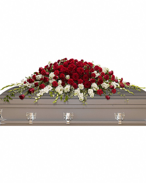 White and Red Casket Spray-FNWR-01