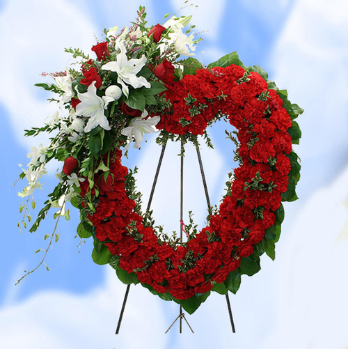 Deluxe Red and White Hollow Heart-FNHOL-05