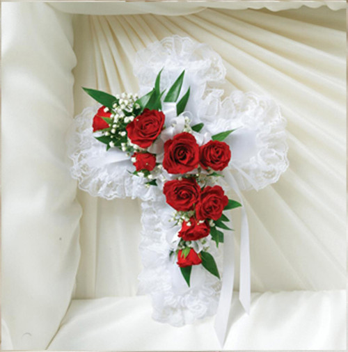 Red and White Satin Cross Pillow-FNSCP-01