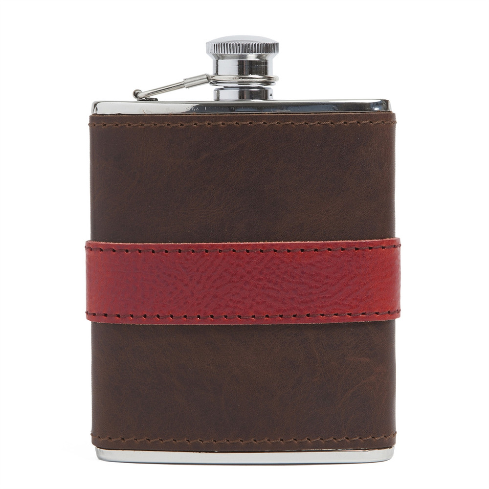 Leather-Wrapped Stainless Steel Flask in Brown with Red Trim by Moore & Giles