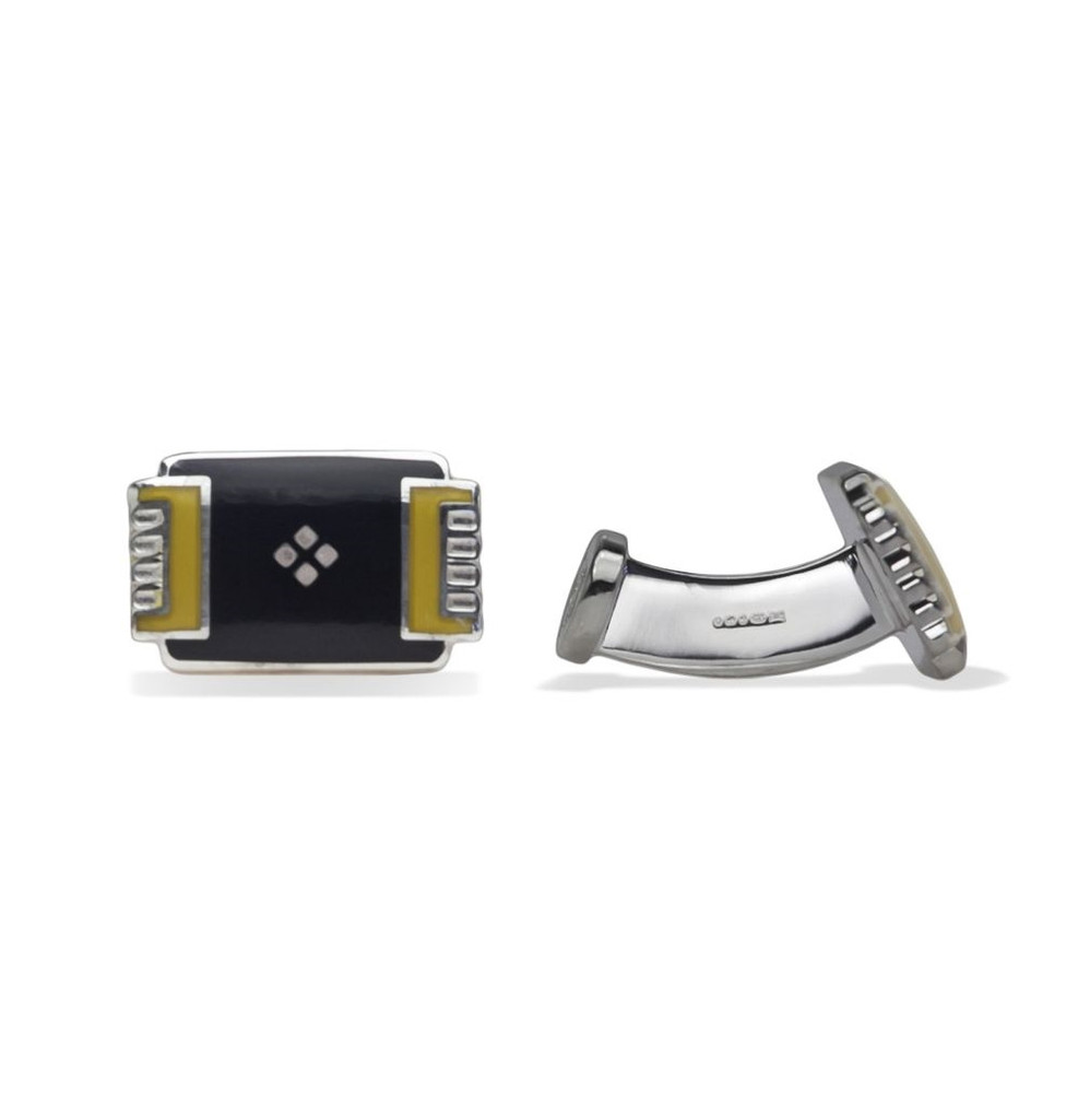 'Deco Tray' Sterling Silver Cufflinks in Black and Gold by Robert Talbott