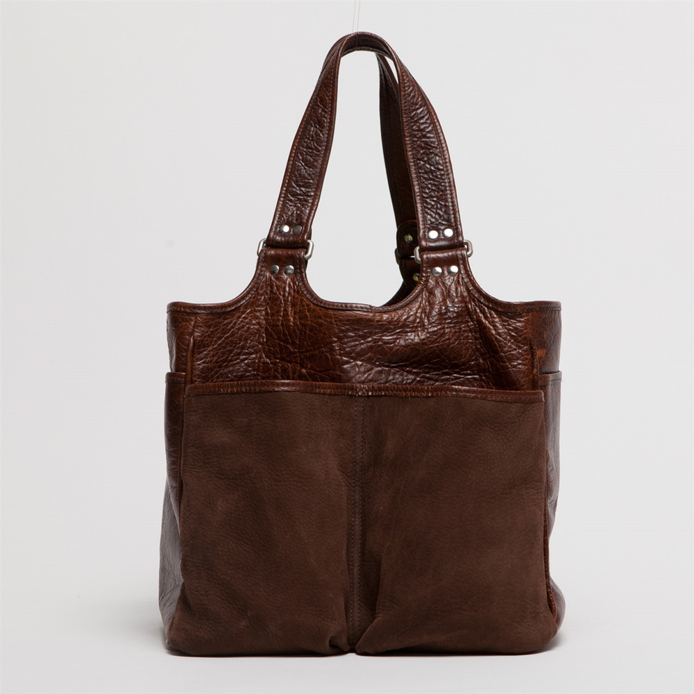 Belle Picnic Tote in Nubuck Bison Chocolate by Moore & Giles