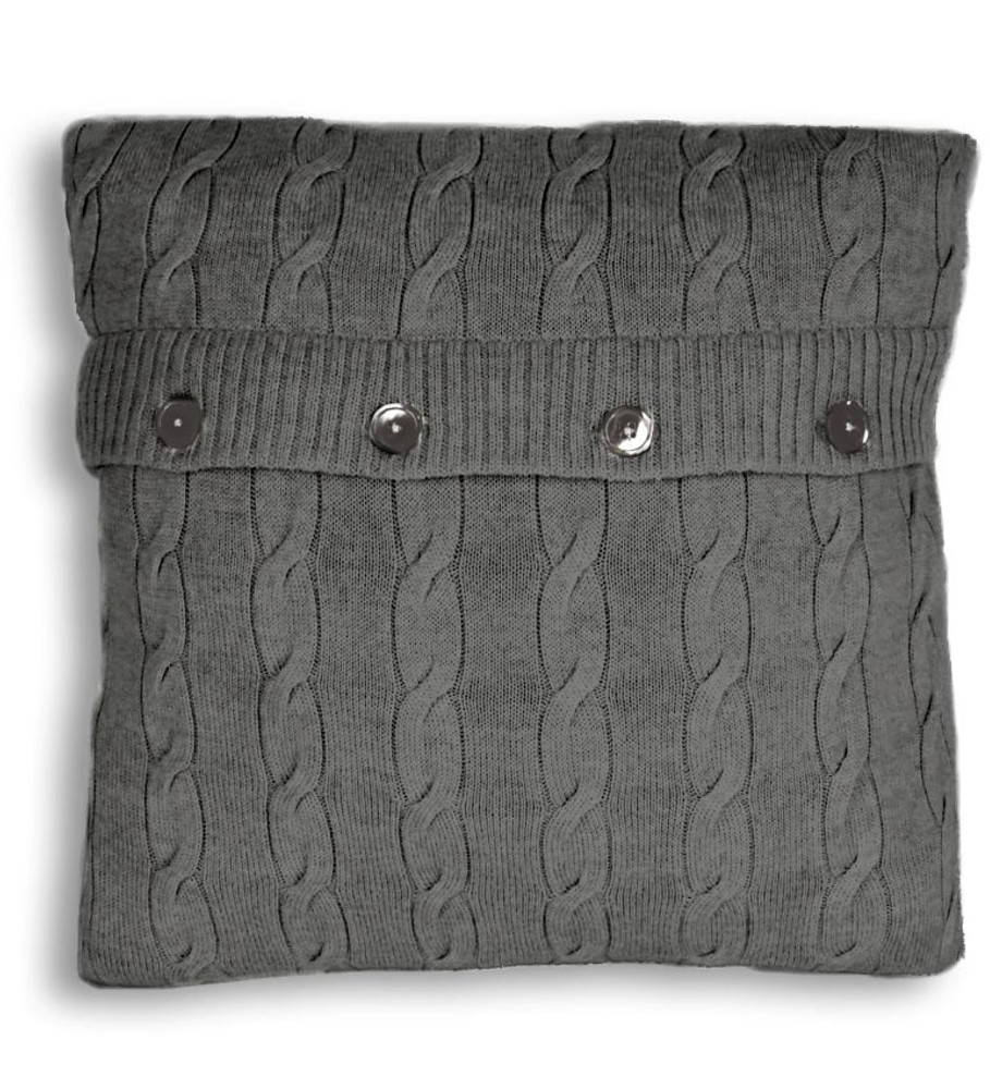 Pure Merino Wool Cable Knit Bed Pillow in Pewter Marl by St. Croix