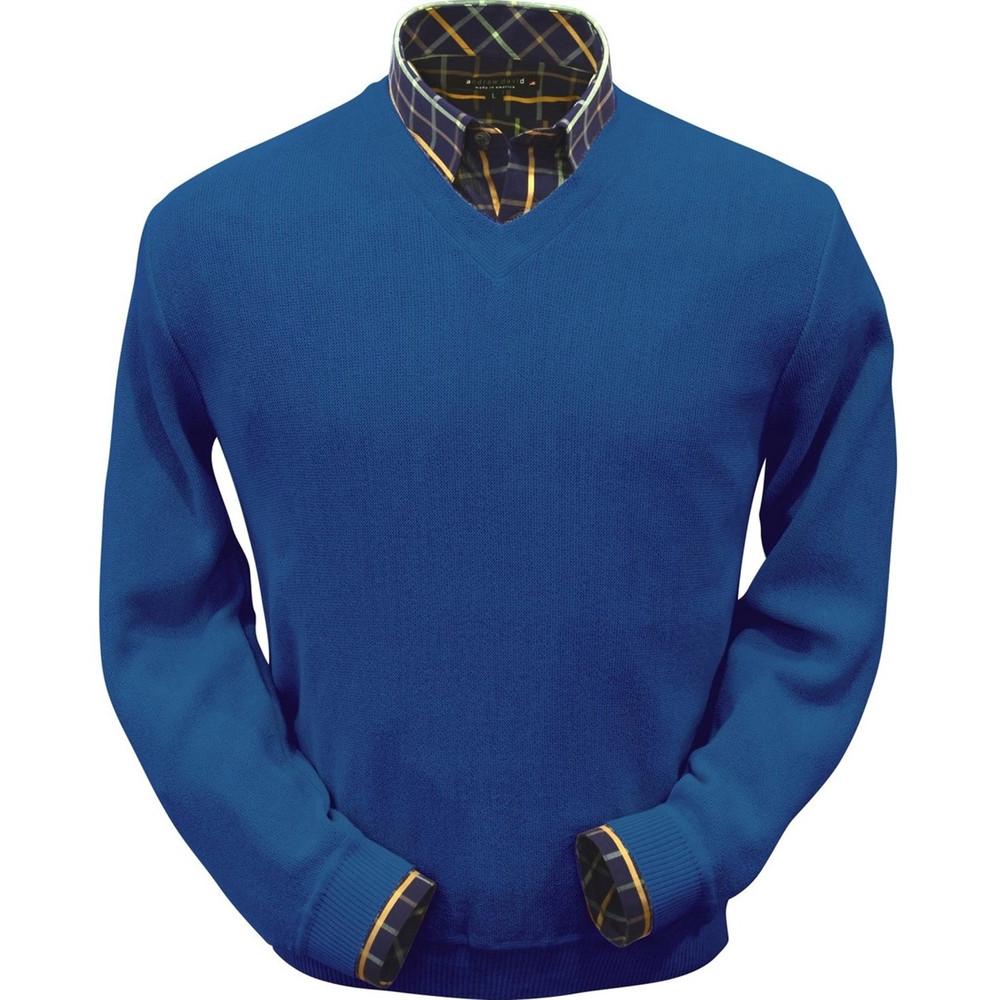 Baby Alpaca Link Stitch V-Neck Sweater in Electric Blue by Peru Unlimited