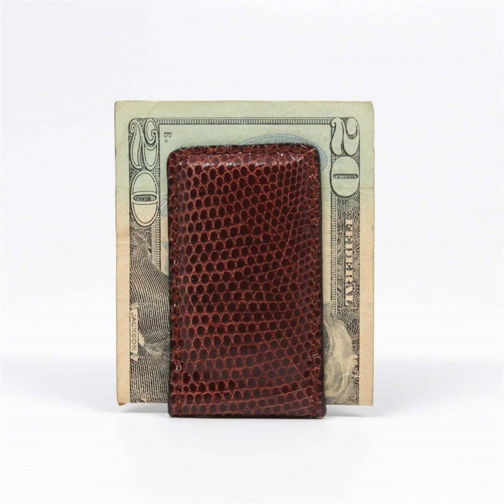 Lizard Magnetic Money Clip in Brown by Torino Leather Co.
