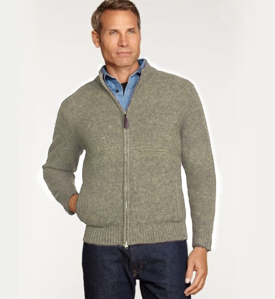 Shetland Zip-Front Cardigan Sweater in Birch by Pendleton