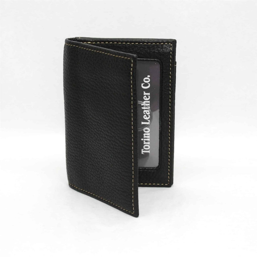 Tumbled Glove Leather Gusseted Card Case in Black by Torino Leather Co.