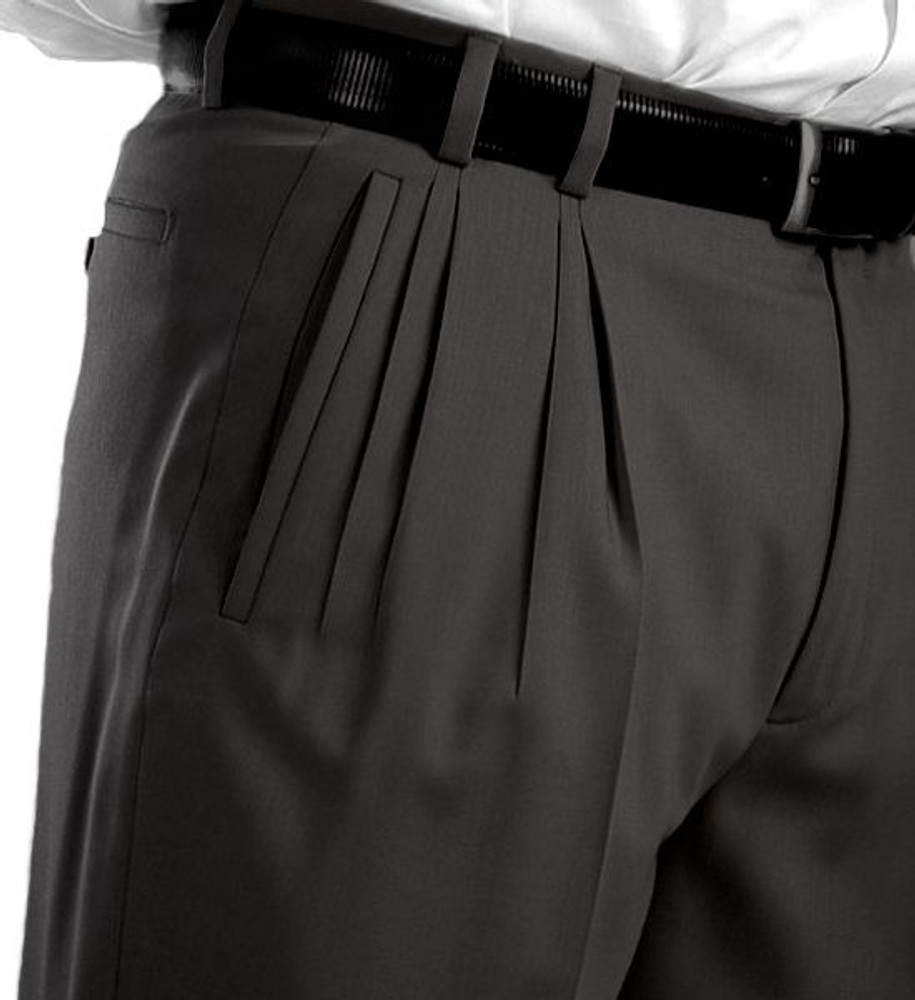 'Jesse Fit' Super 110's Wool Serge Four Reverse Pleat Trouser in Black Wool Serge (Sizes 35 and 36) by Bruno Sartore