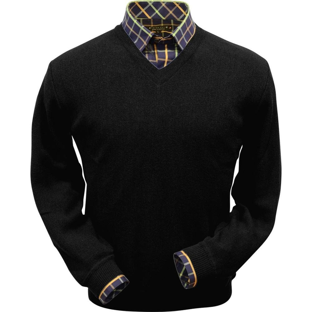 Baby Alpaca Link Stitch V-Neck Sweater in Black by Peru Unlimited
