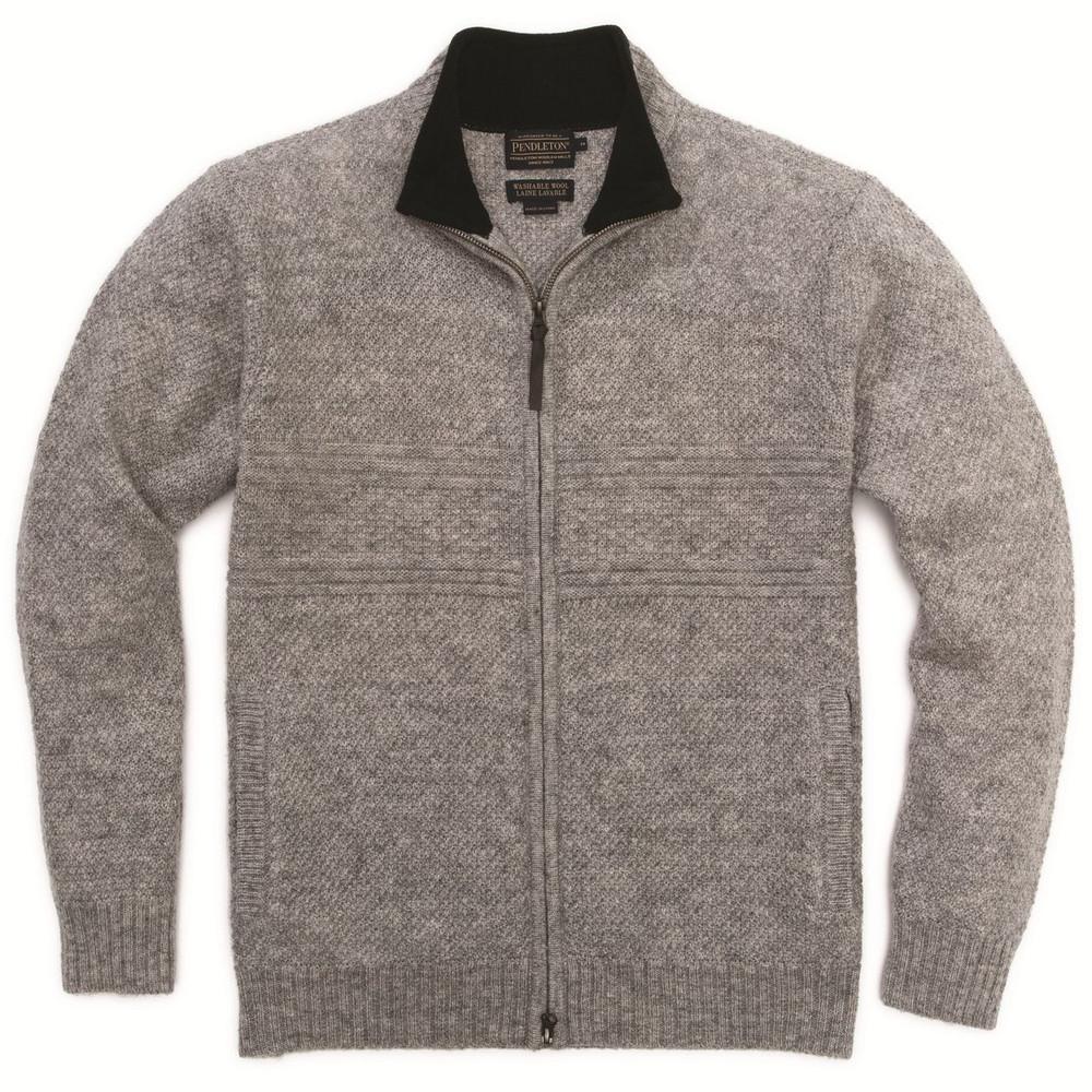 Shetland Zip-Front Cardigan in Grey Heather by Pendleton