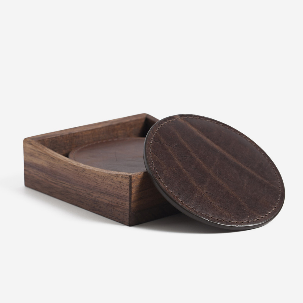 Brompton Brown Leather Coasters with Walnut Box by Moore & Giles