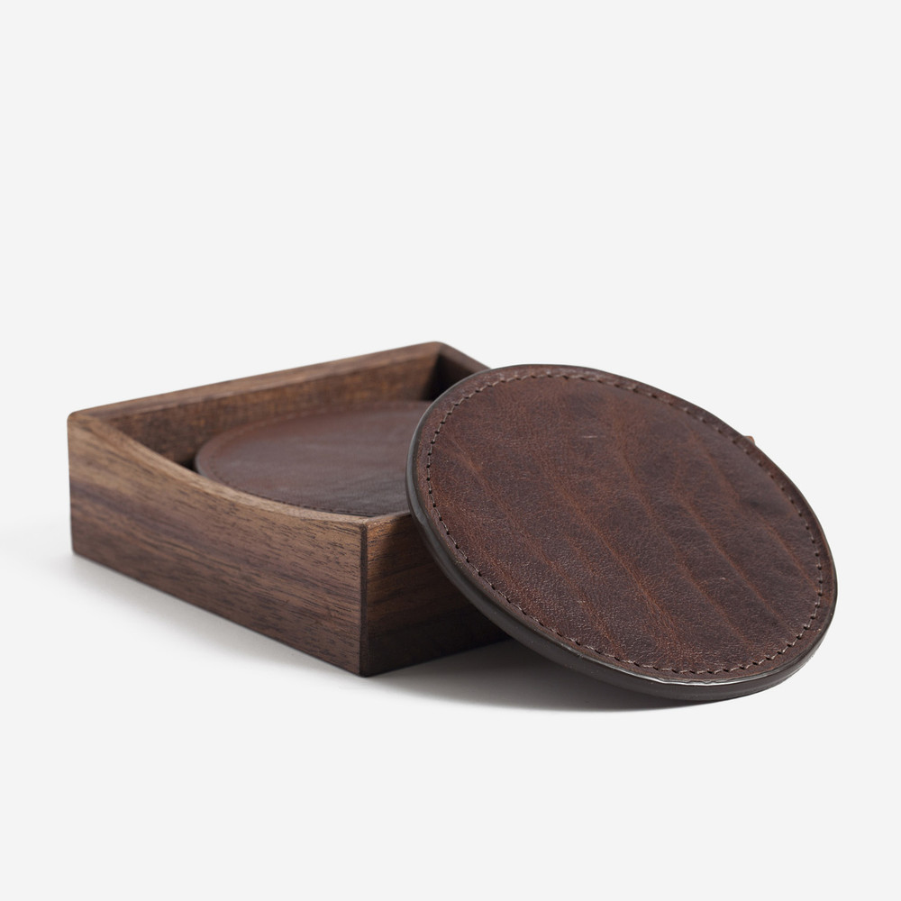 Titan Milled Brown Leather Coasters with Walnut Box by Moore & Giles