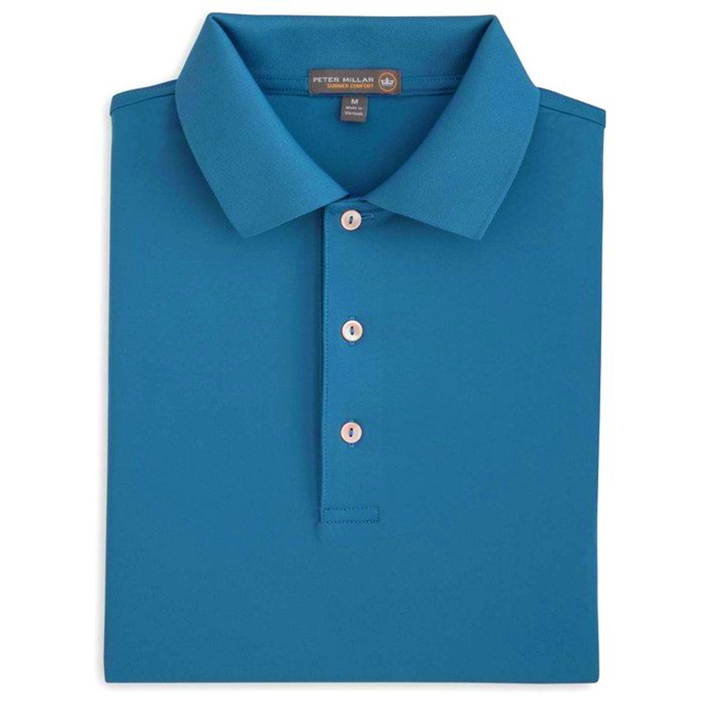 Solid Stretch Jersey 'Crown Sport' Performance Polo with Knit Collar in Mediterranean Blue by Peter Millar