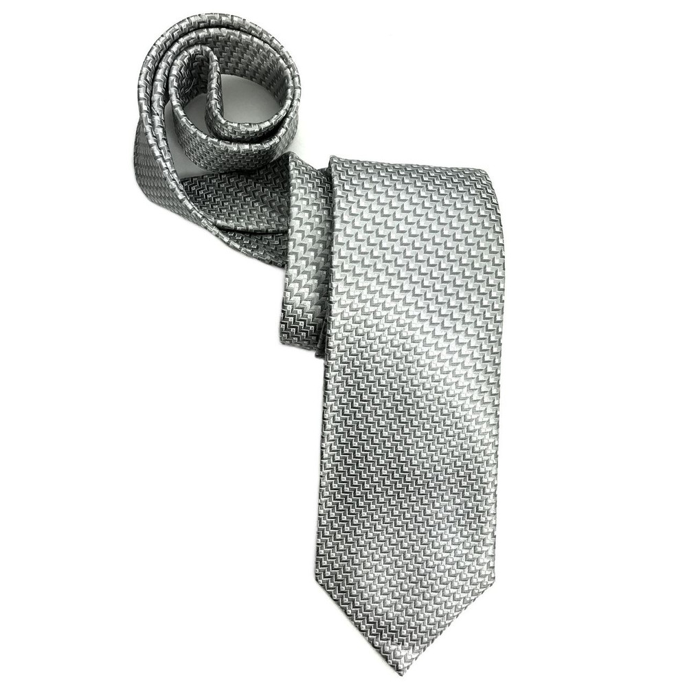 Grey and White Geometric Woven Silk Tie by Robert Jensen