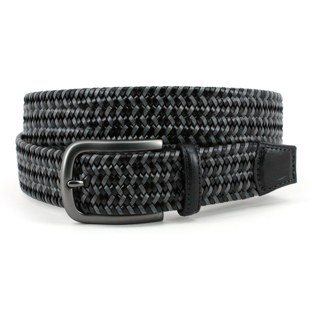 Italian Mini Strand Woven Stretch Leather Belt in Black and Grey by Torino Leather Co.