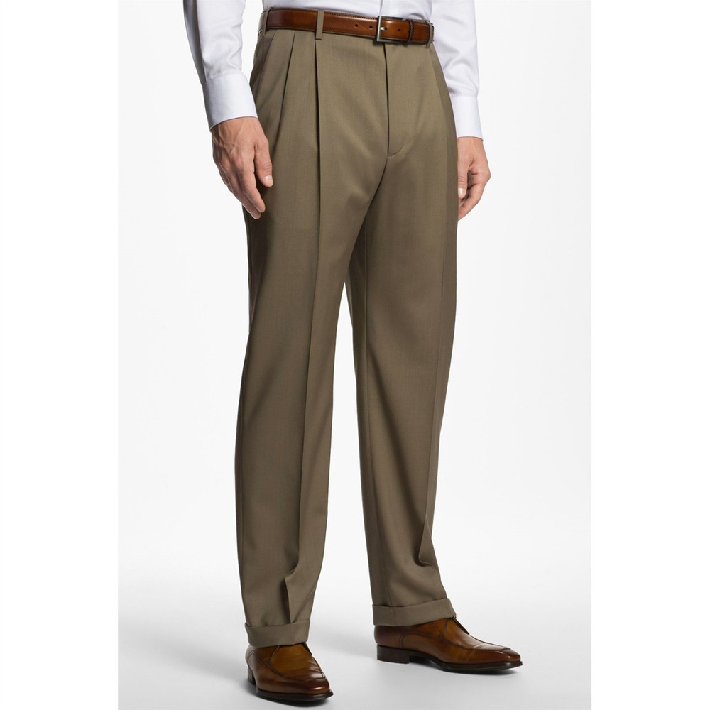 'Bennett' Double Reverse Pleat Super 120's Wool Serge Pant in Taupe (Size 46) by Zanella