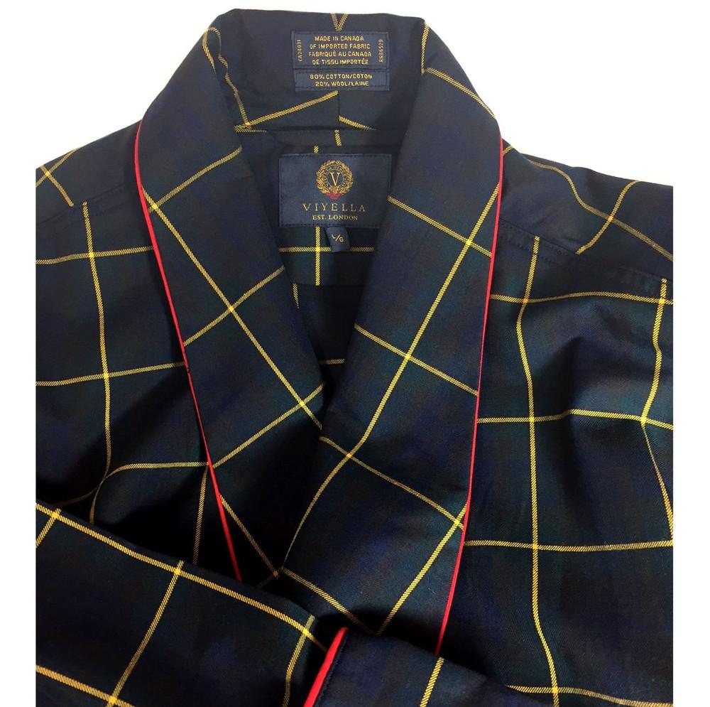 Gentleman's Genuine Cotton and Wool Blend Robe in New Viyella Tartan by Viyella