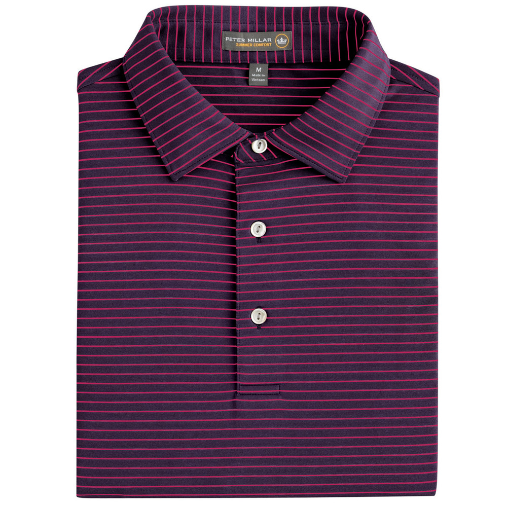 Commander Stripe Stretch Jersey 'Crown Sport' Performance Polo with Sean Self Collar in Blackberry (Size X-Large) by Peter Millar