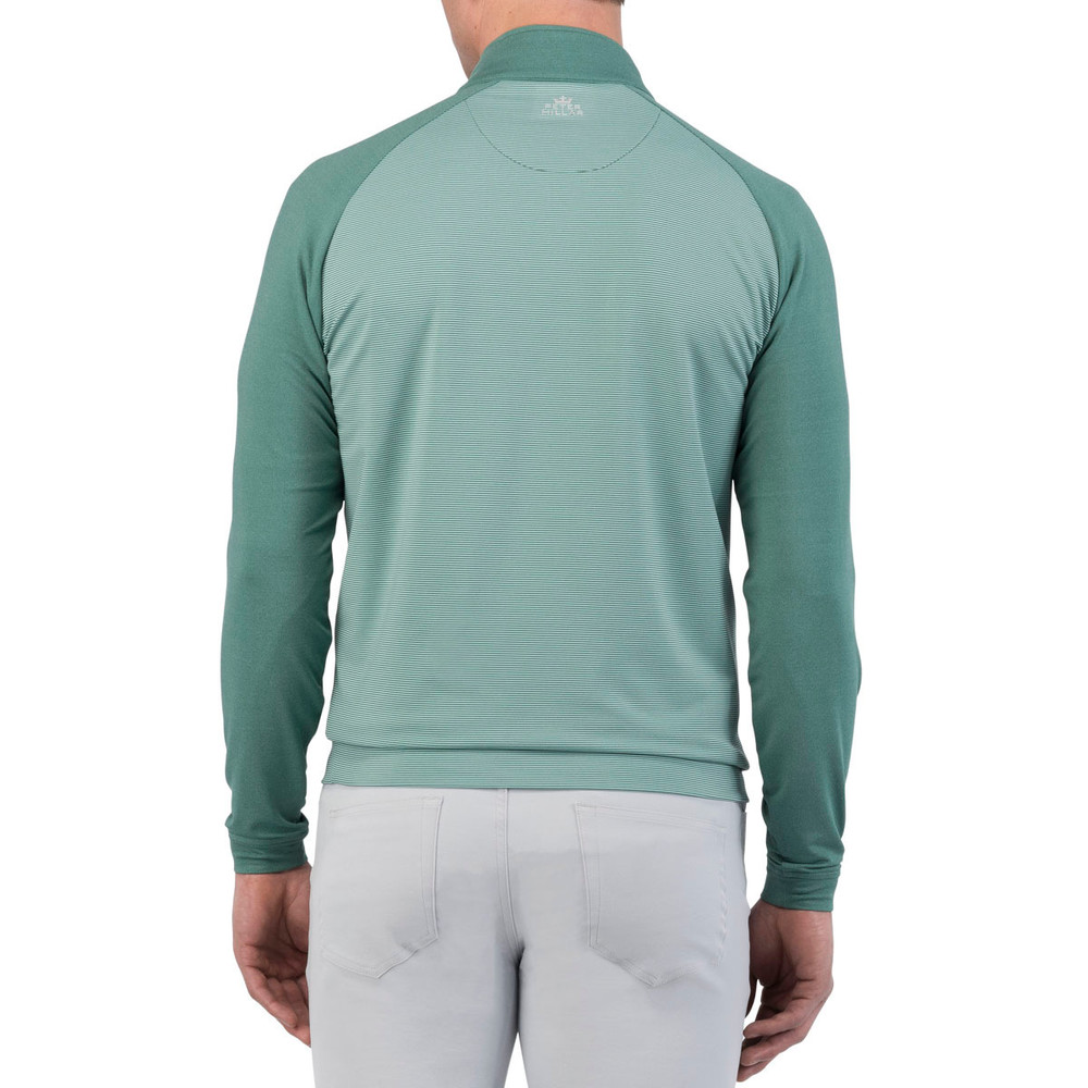 'Perth' Raglan-Sleeve Sugar Stripe Quarter-Zip Performance Pullover in Pine by Peter Millar