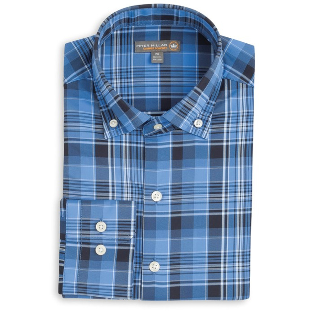 Pops Plaid 'Crown Sport' Performance Sport Shirt in Vessel (Size Large) by Peter Millar