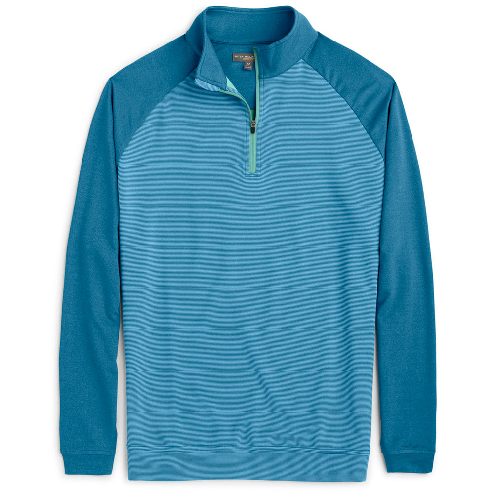 'Perth' Raglan-Sleeve Sugar Stripe Quarter-Zip Performance Pullover in Parisian Blue (Size XX-Large) by Peter Millar
