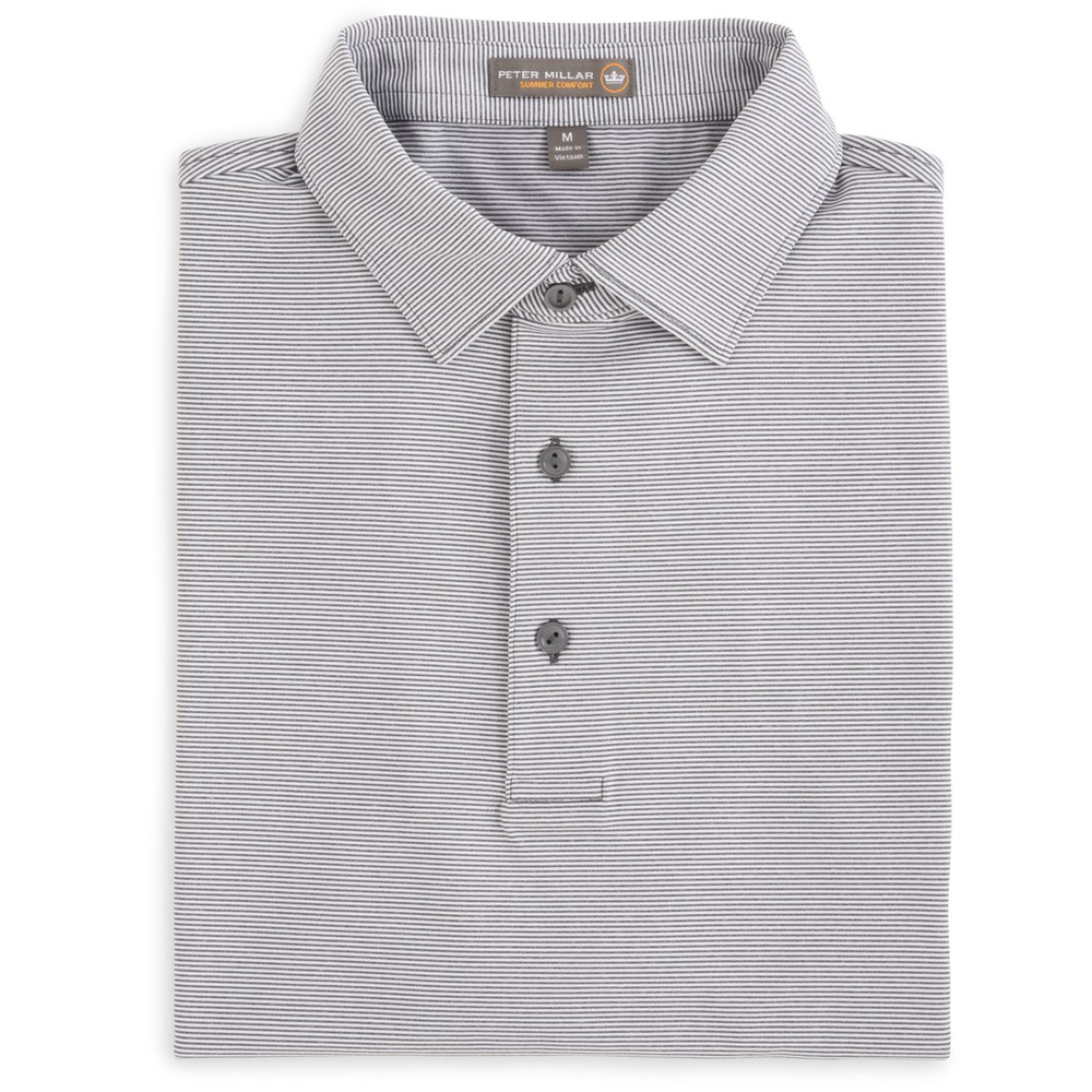 Jubilee Stripe Stretch Jersey 'Crown Sport' Performance Polo with Sean Self Collar in Pebble by Peter Millar