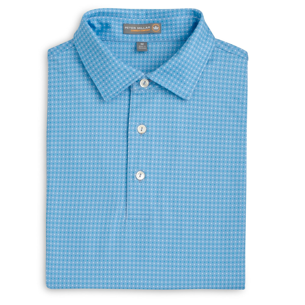 Duchess X Print Stretch Jersey 'Crown Sport' Performance Polo with Sean Self Collar in Cottage Blue by Peter Millar