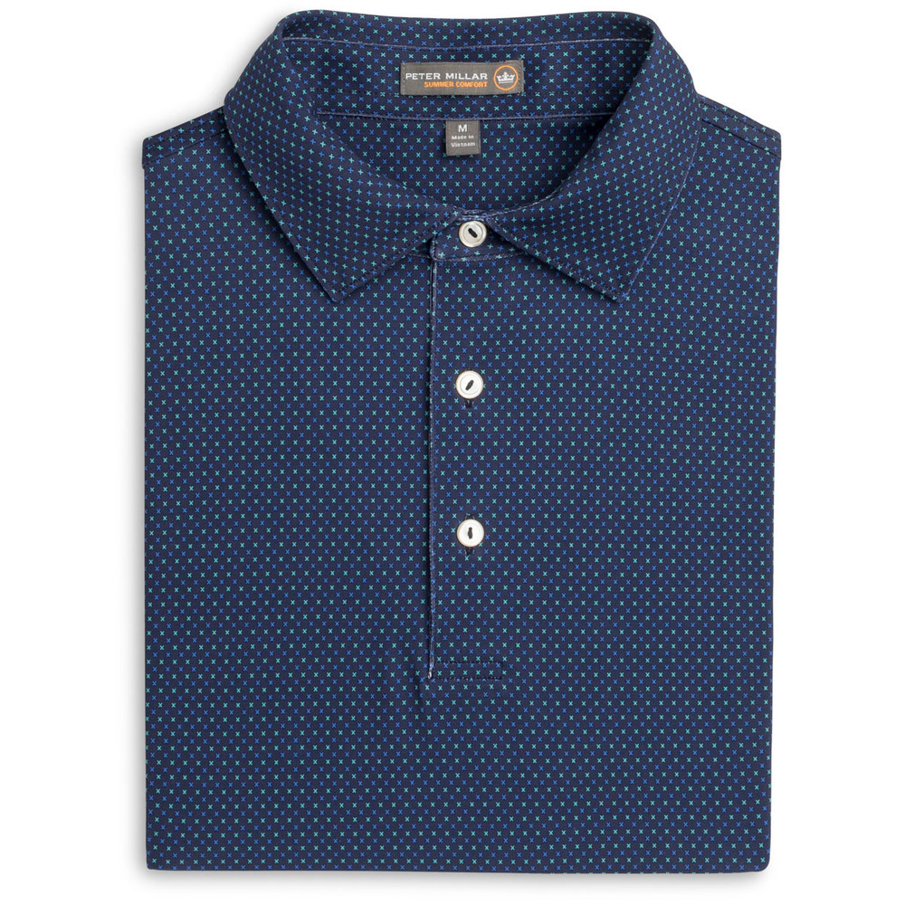 Duchess X Print Stretch Jersey 'Crown Sport' Performance Polo with Sean Self Collar in Yankee Blue by Peter Millar