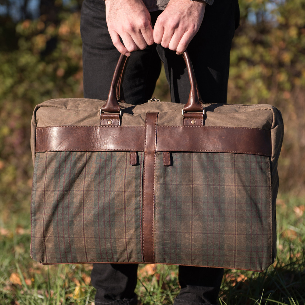 Tinsley Trifold Carry-On Suitcase in Waxwear Autumn Plaid and Baldwin Oak by Moore & Giles