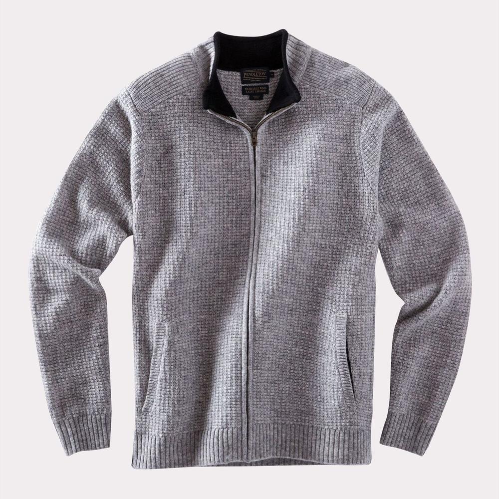 Shetland Full Zip Cardigan Sweater in Grey Heather by Pendleton