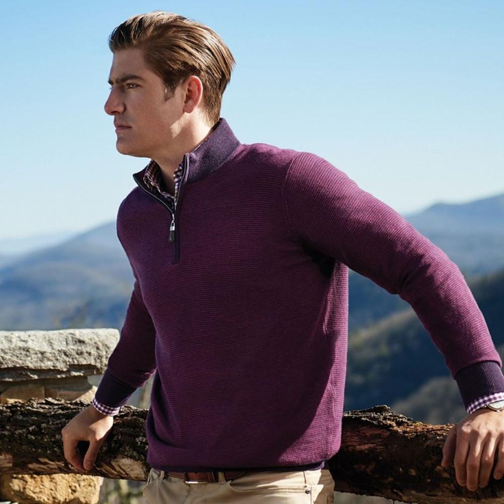 Striped Merino Wool Quarter-Zip Sweater in Blackberry by Peter Millar