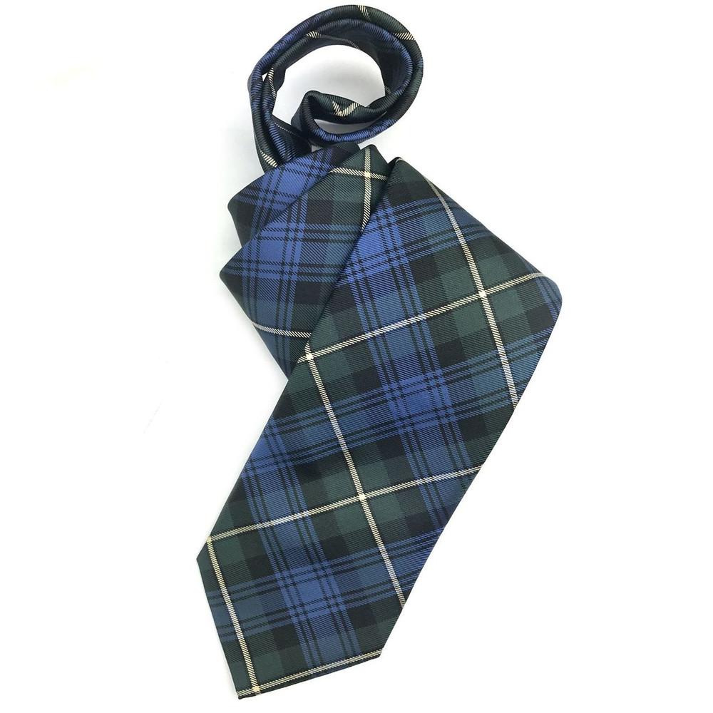 Best of Class Blue and Green 'Holiday Tartan' Woven Silk Tie by Robert Talbott