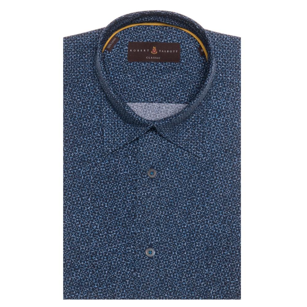 Navy and Blue Geometric 'Anderson II' Sport Shirt by Robert Talbott