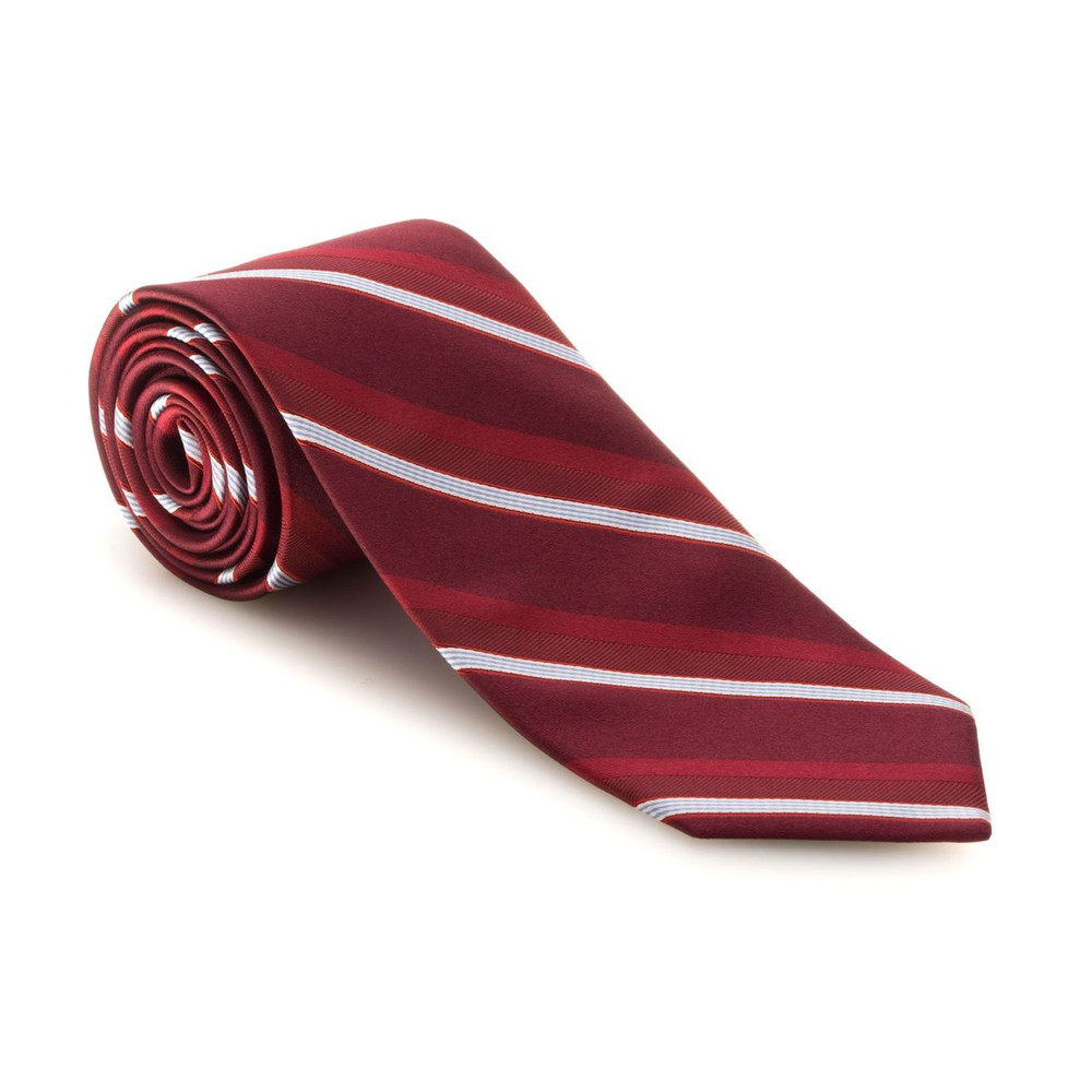 Best of Class Red, White, and Sky Blue Stripe 'Executive' Woven Silk Tie by Robert Talbott