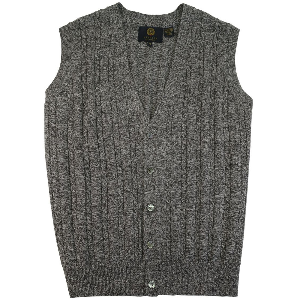 Merino Wool Cable Knit V Neck Sweater Vest In Mouline Heather By