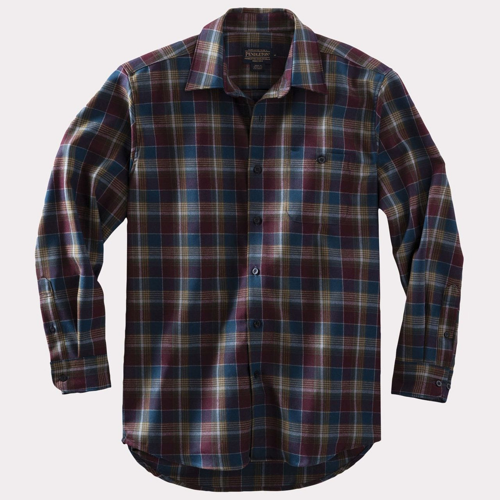 Zephyr Wool Shirt in Blue and Maroon Plaid by Pendleton