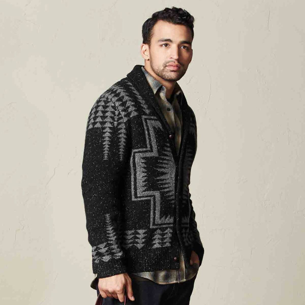 Harding Shawl-Collar Cardigan Sweater in Black and Grey by Pendleton