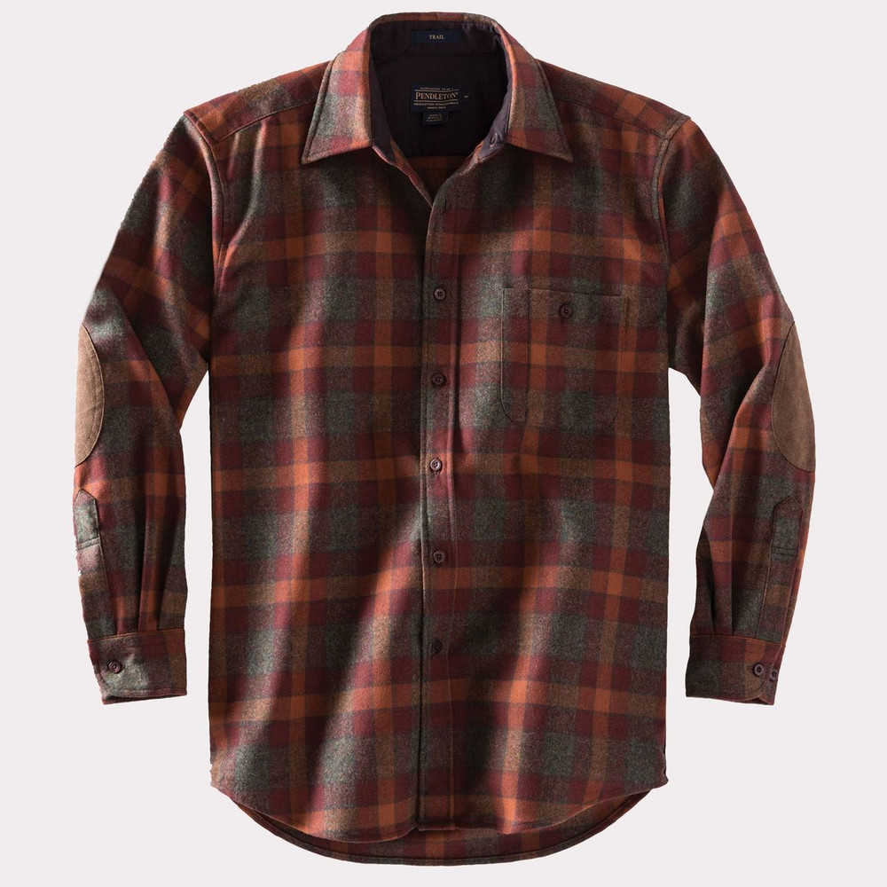 Elbow-Patch Trail Shirt in Rust and Green Mix Check by Pendleton