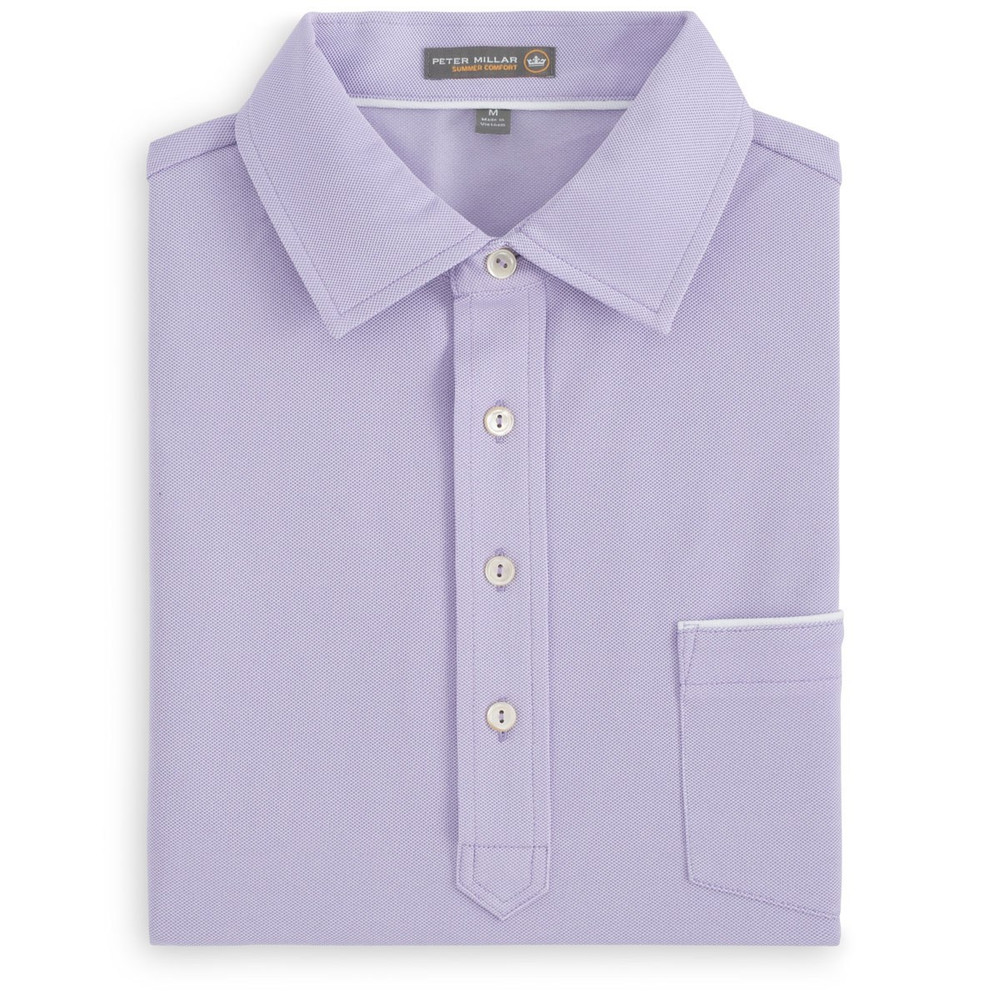 Jones Oxford Pique 'Crown Sport' Performance Polo with Tipped Pocket and Snedeker Hard Collar in Muscadine by Peter Millar