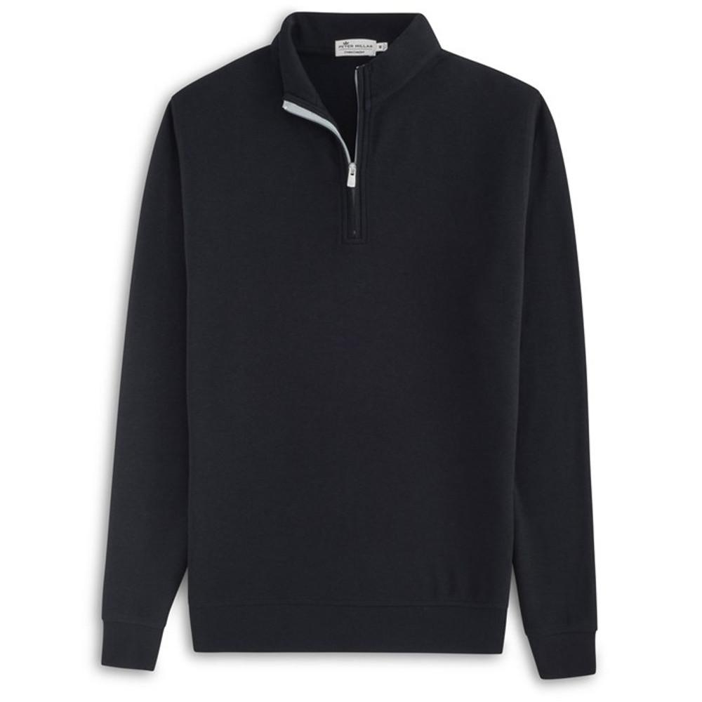 Heather 'Crown Comfort' Quarter-Zip Interlock Pullover in Black by Peter Millar