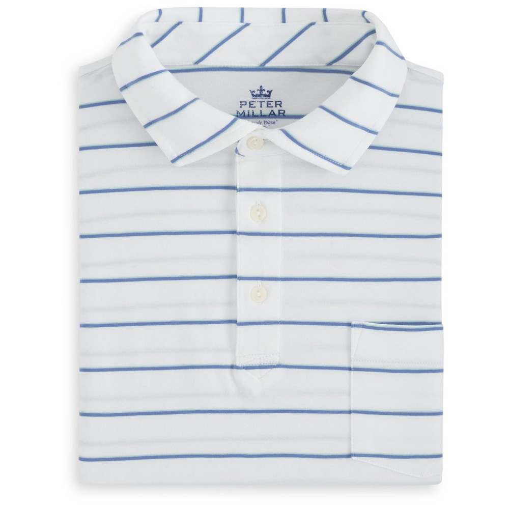 Knoll Seaside Stripe Polo Shirt with Pocket in White and Bonnet by Peter Millar
