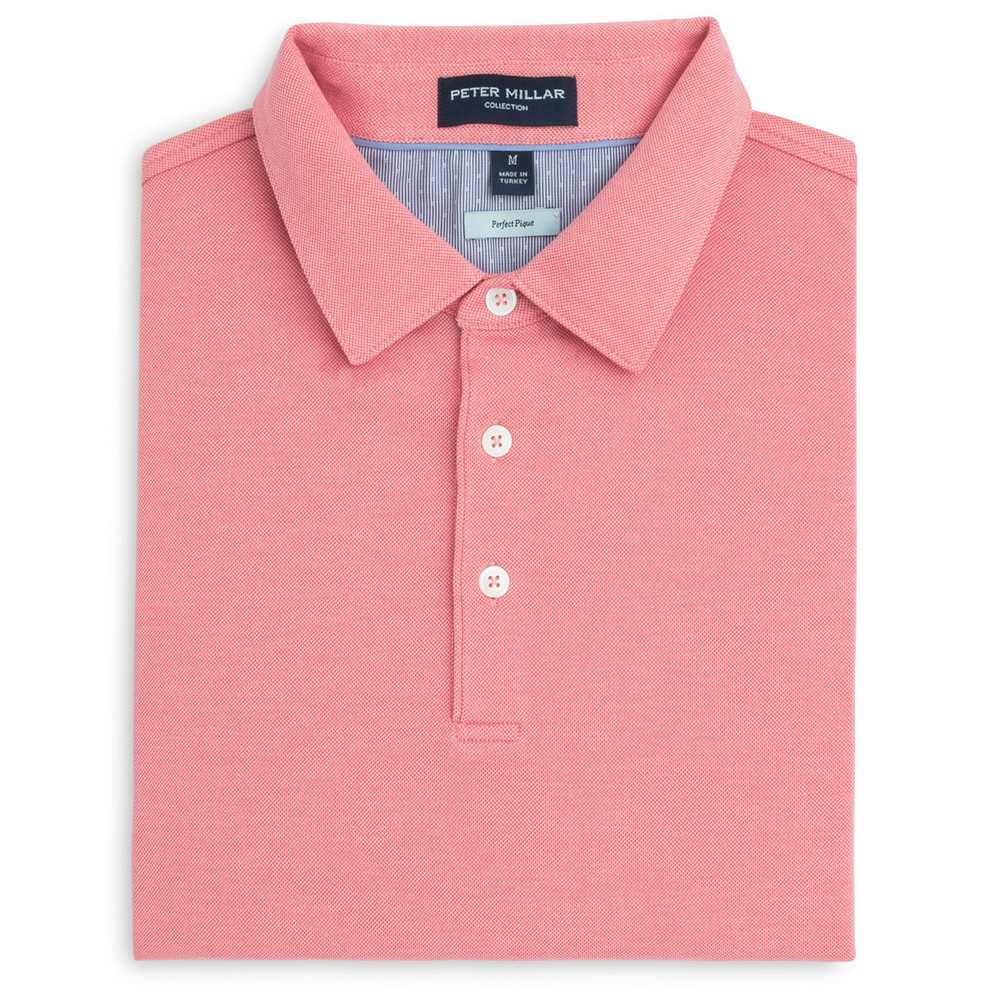 The Perfect Piqué Polo with Self Collar in Flamencos by Peter Millar